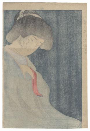 Worried Beauty Kuchi-e Print by Toshihide (1863 - 1925)
