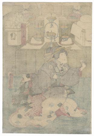 Okon of the Aburaya, 1855 by Toyokuni III/Kunisada (1786 - 1864), 1855