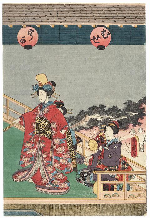 Dancer and Musicians, 1856 by Toyokuni III/Kunisada (1786 - 1864)
