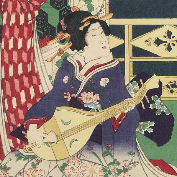 Music on a Spring Night, 1869 by Kunichika (1835 - 1900)