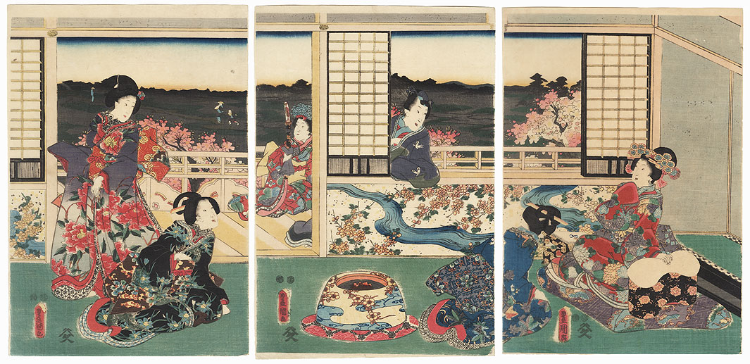 Mitsuuji Looks in from the Verandah, 1847 - 1852 by Toyokuni III/Kunisada (1786 - 1864)