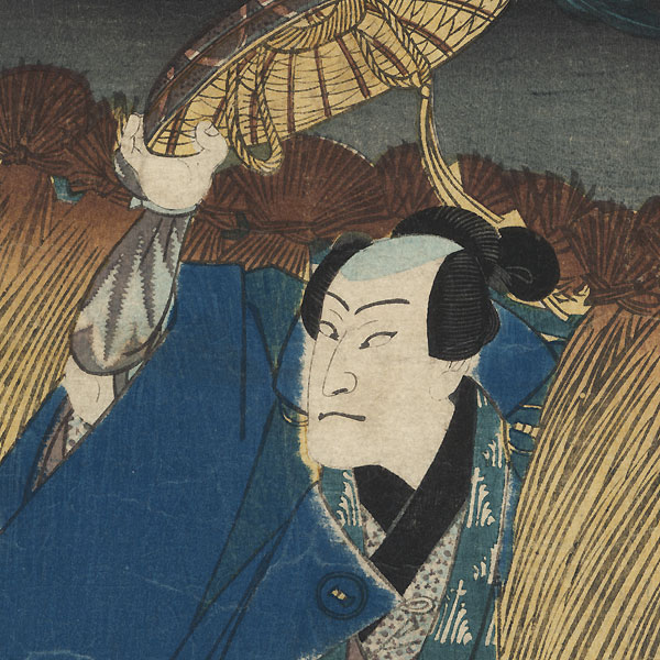 Shimobe Enjiro Emerging from Rice on a Drying Rack, 1861 by Toyokuni III/Kunisada (1786 - 1864)