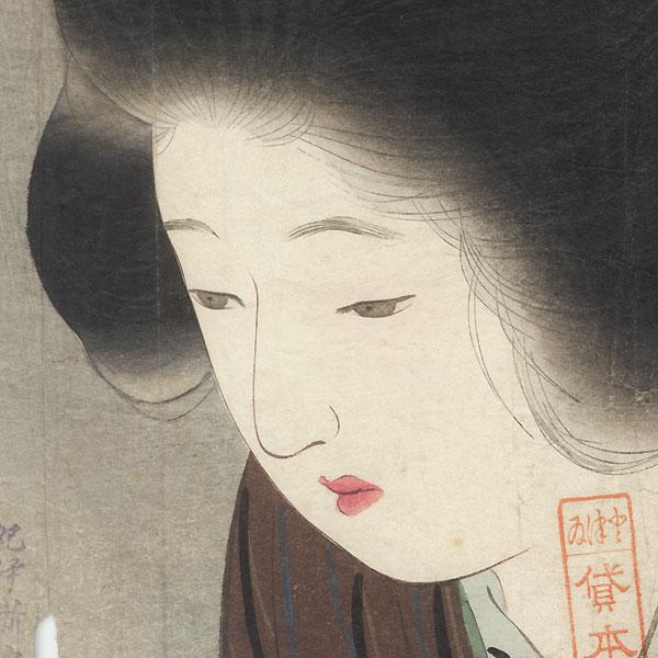 Original Meiji Era Kuchi-e Print by Kiyokata Kaburagi (1878 - 1972)