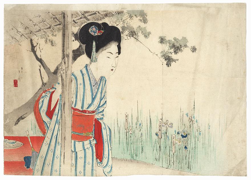 Original Meiji Era Kuchi-e Print by Toshikata (1866 - 1908)
