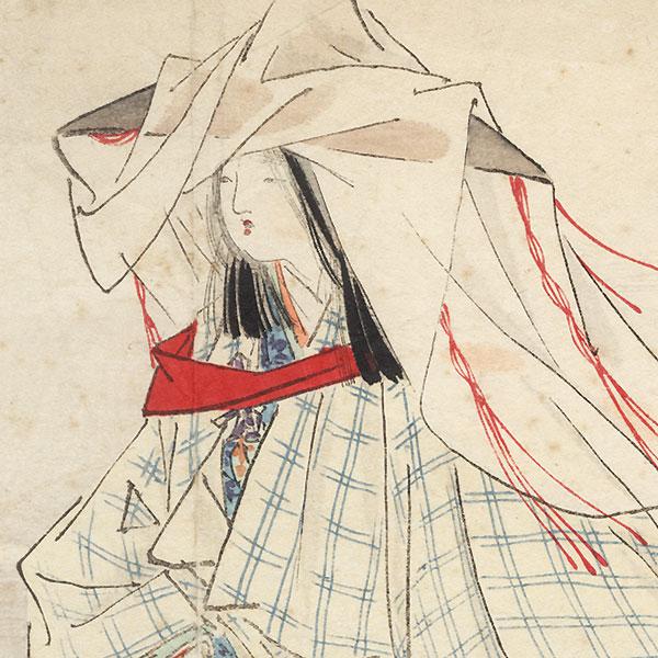 Original Meiji Era Kuchi-e Print by Kajita Hanko (1870 - 1917)