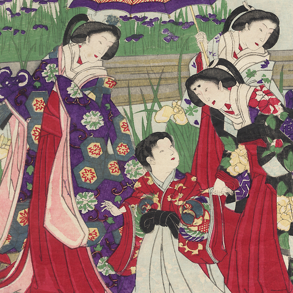 Visiting an Iris Garden, 1880 by Chikanobu (1838 - 1912)