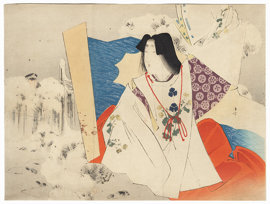 Heian Era Beauty Kuchi-e Print by Meiji era artist (not read)