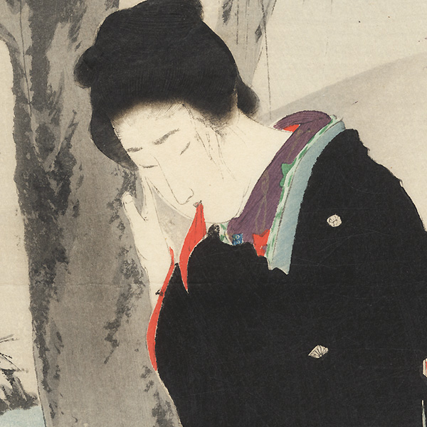 Distraught Beauty and Foreign Hunter Kuchi-e Print by Tomioka Eisen (1864 - 1905)