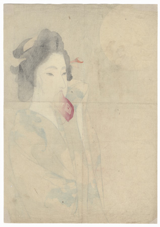 Beauty after a Bath Kuchi-e Print by Tomioka Eisen (1864 - 1905)