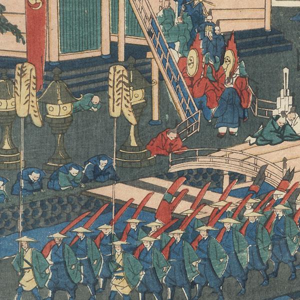 The Atsuta Shrine at Miya Station by Kyosai (1831 - 1889)