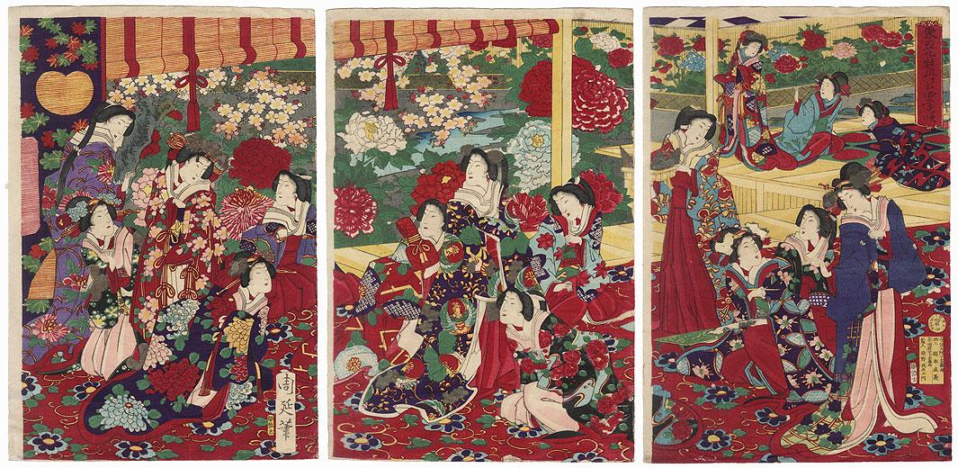 Blooming Peony Flowers, 1878 by Chikanobu (1838 - 1912)