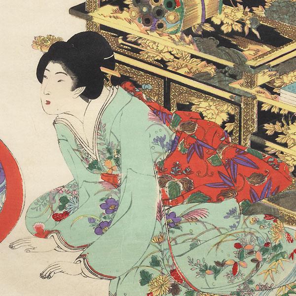 Preparing to Play the Koto, 1895 by Chikanobu (1838 - 1912)