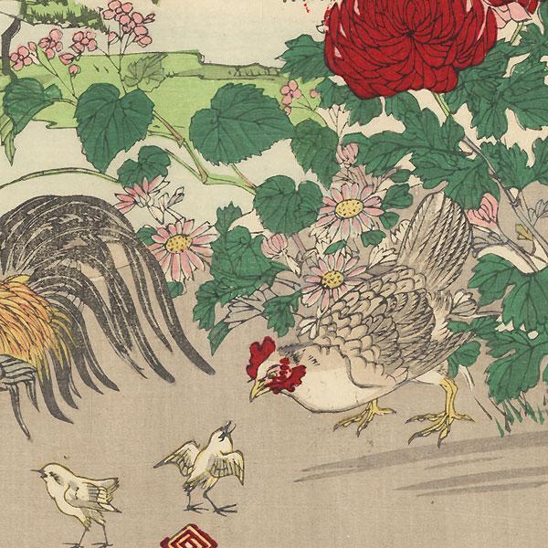 Birds in a Blossoming Tree, 1896 by Meiji era artist (not read)