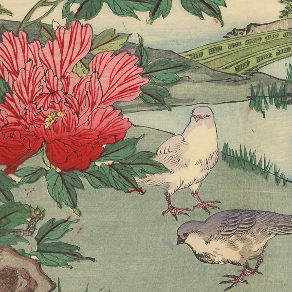 Doves and Peonies, 1896 by Meiji era artist (not read)