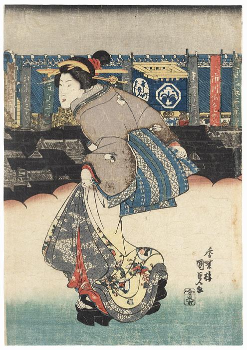 Beauty Taking a Stroll by Toyokuni III/Kunisada (1786 - 1864)