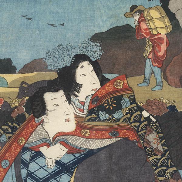 Zhong You: Bando Shuka I as Lady Nijo and Iwai Kumesaburo III as Narihira, 1854 by Kuniyoshi (1797 - 1861)