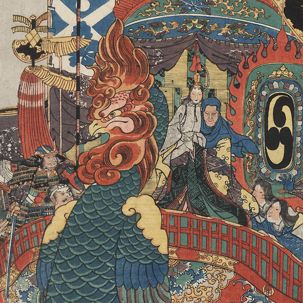 In the Great Battle between the Minamoto and the Taira at Akama Bay in Nagato Province, the Taira Clan Are Utterly Destroyed, 1845 by Kuniyoshi (1797 - 1861)