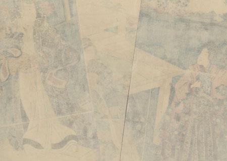 Sawamura Sojuro III as Mitsuuji's Father on the Palace Verandah, 1852 by Toyokuni III/Kunisada (1786 - 1864)