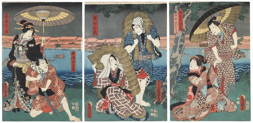 Along a Riverbank, 1855 by Toyokuni III/Kunisada (1786 - 1864)
