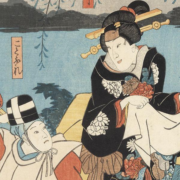 Scene from Aiaigasa Chigusa no Iroiro, 1849 by Kuniyoshi (1797 - 1861)