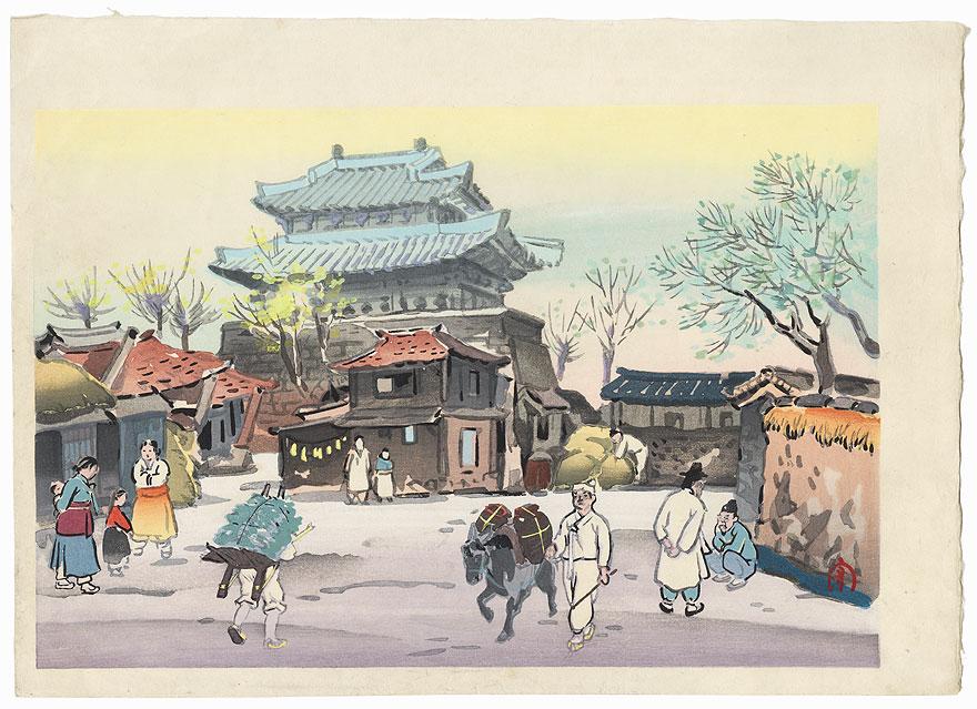 Korean Town Scene by Hiyoshi Mamoru (1885 - ?)