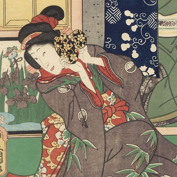 Scene from Kutsuwa no Oto Tazuna no Somewake, 1861 by Toyokuni III/Kunisada (1786 - 1864)