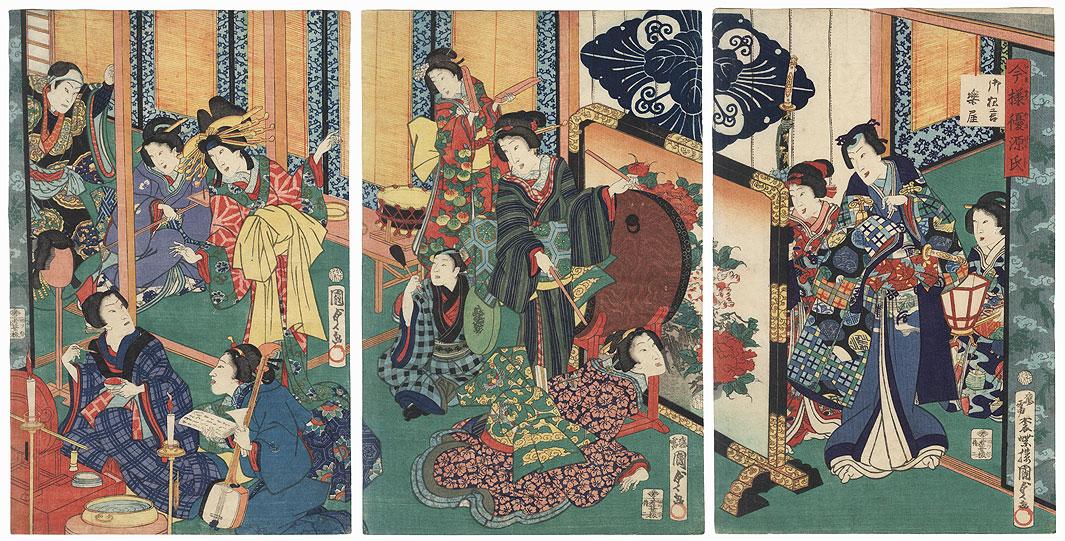 Genji in Modern Style: Kyogen Dressing Room, 1867 by Kunisada II (1823 - 1880)