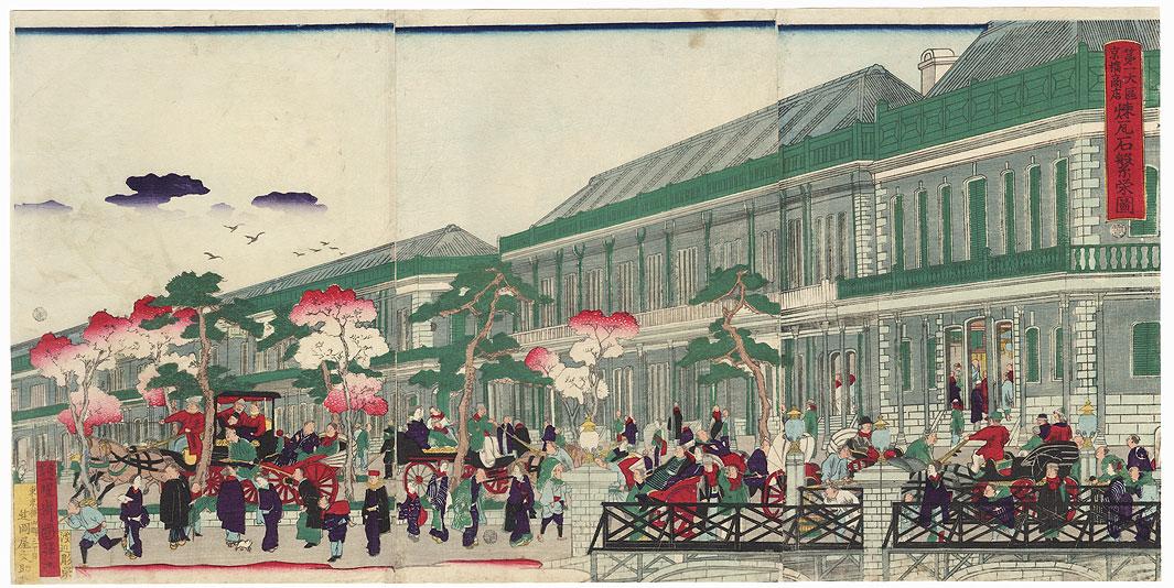 Flourishing Brick Mansions in the Ginza District, 1873 by Kuniteru II (1829 - 1874)