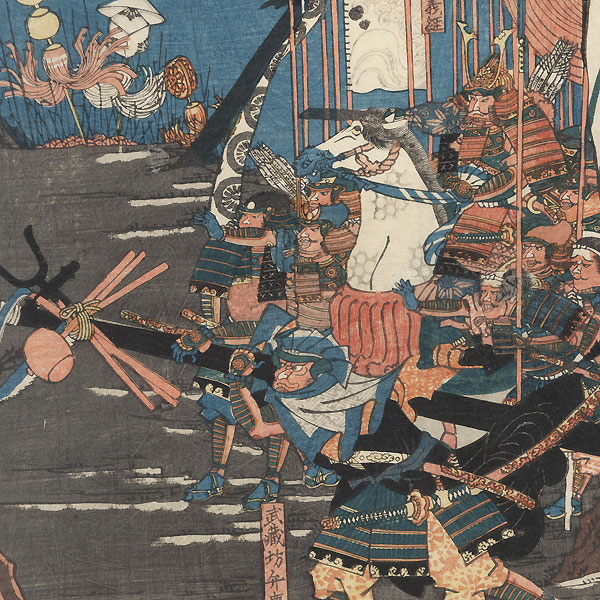Battle of Ichi-no-Tani by Yoshitsuya (1822 - 1866)