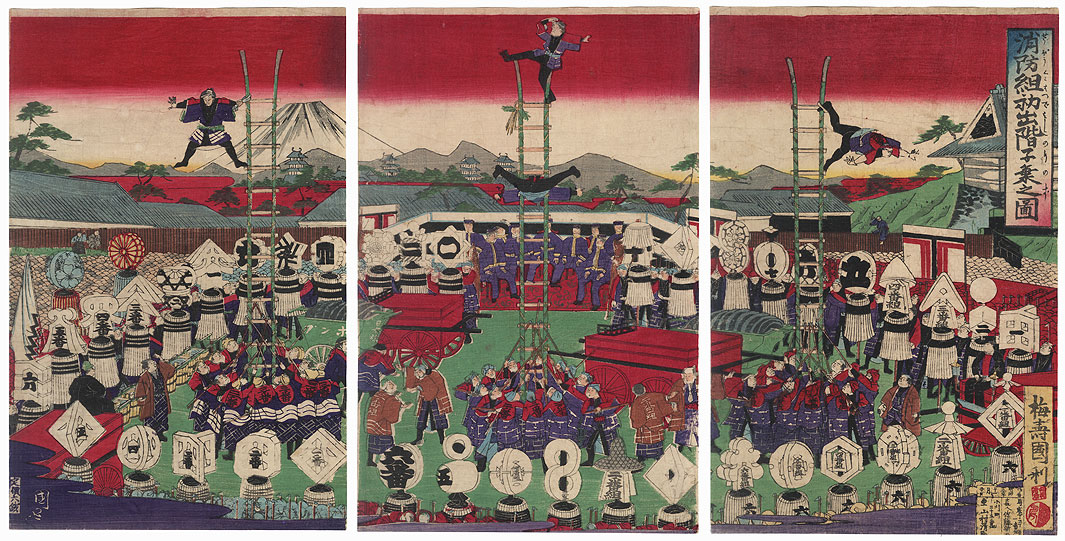 Firemen's Procession and Acrobatics Display by Kunitoshi (1847 - 1899)