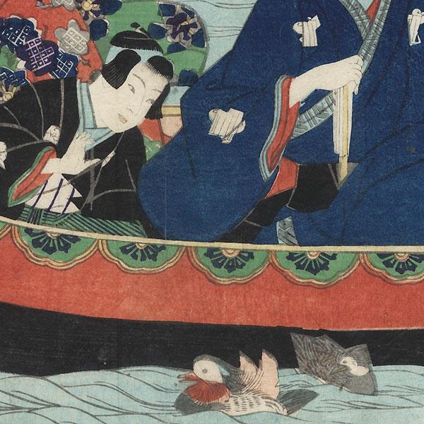 Prince Genji Enjoying a Boat Ride, 1867 by Edo era artist (unsigned)