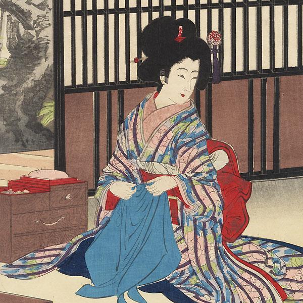 Beauties Sewing, 1895 by Meiji era artist (not read)