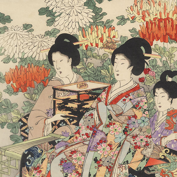 Beauties in a Chrysanthemum Garden, 1895 by Chikanobu (1838 - 1912)