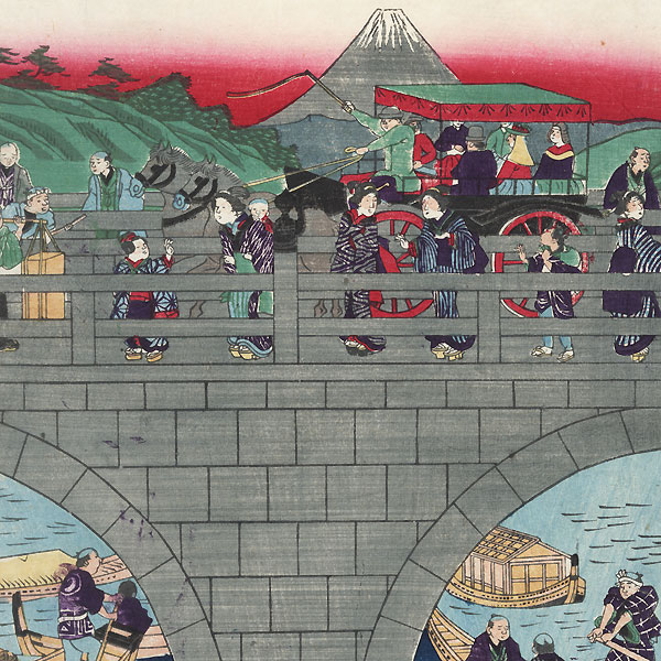 Modern Bridge and View of Mt. Fuji by Yoshitora (active circa 1840 - 1880)