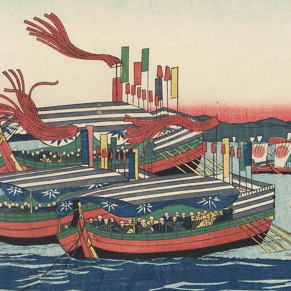Ships with Banners Flying by Yoshiiku (1833 - 1904)