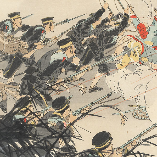 Sino-Japanese War: Pursuing the Retreating Enemy at Jinzhoucheng, 1894 by Gekko (1859 - 1920)