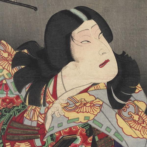 Sawamura Tossho II as Kohagi, Actually Atsumori, 1872 by Kunichika (1835 - 1900)