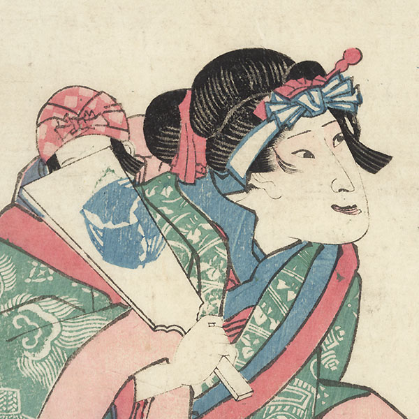 Iwai Shijaku as a Beauty with a Battledore by Kuniyoshi (1797 - 1861)