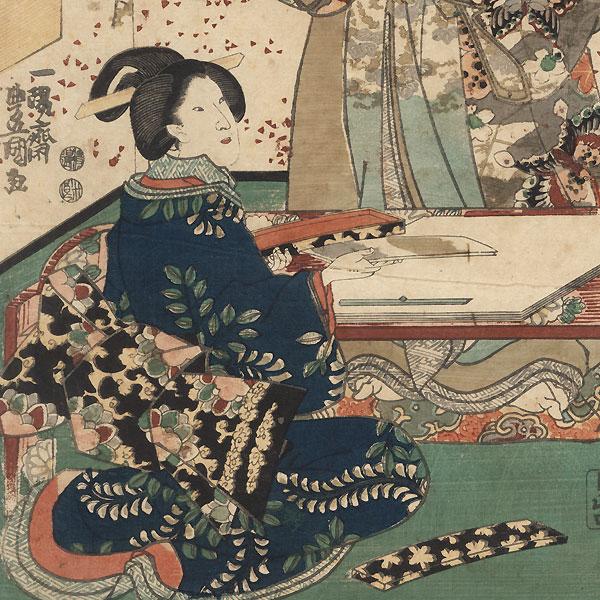 Grinding Ink for Calligraphy, 1847 - 1852 by Toyokuni III/Kunisada (1786 - 1864)