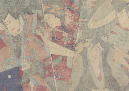 Struggling over a Banner, 1887 by Kunichika (1835 - 1900)
