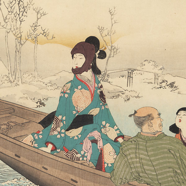 Snow Viewing: Woman of the Kanbun Era (1661- 1673) by Toshikata (1866 - 1908)