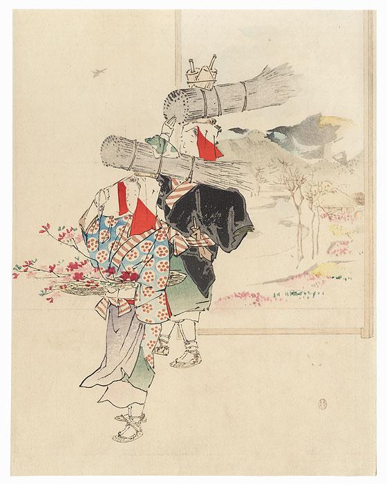 Women of Ohara Kuchi-e Print by Mishima Shoso (1856 - 1928)