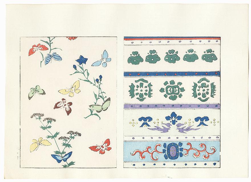 Butterflies; Rows of Motifs by Shin-hanga & Modern artist (unsigned)