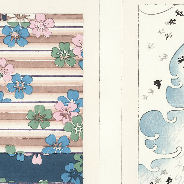 Cherry Blossoms; Plovers and Waves by Shin-hanga & Modern artist (unsigned)