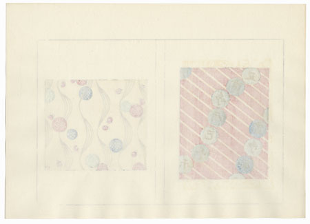 Characters and Diagonal Stripes; Dots and Wavy Lines by Shin-hanga & Modern artist (unsigned)