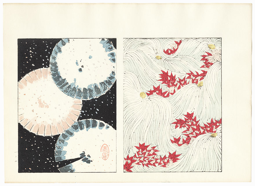Snow-covered Umbrellas; Maple Leaves and Stylized Chrysanthemums by Shin-hanga & Modern artist (unsigned)