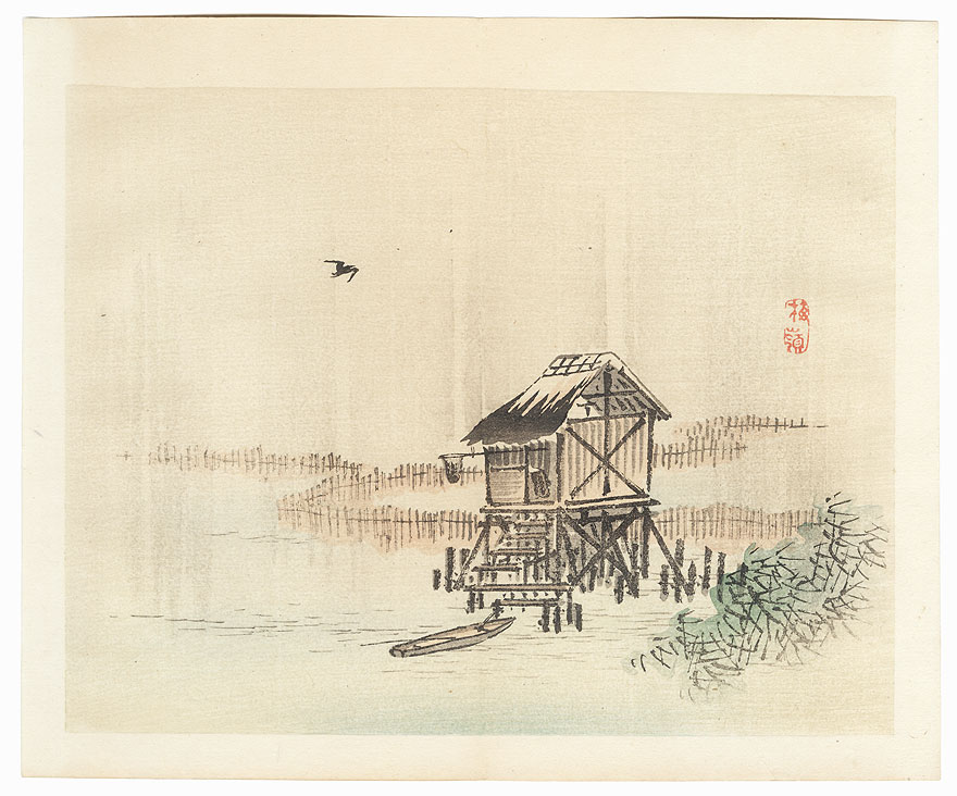 Fishing Hut by Bairei (1844 - 1895)