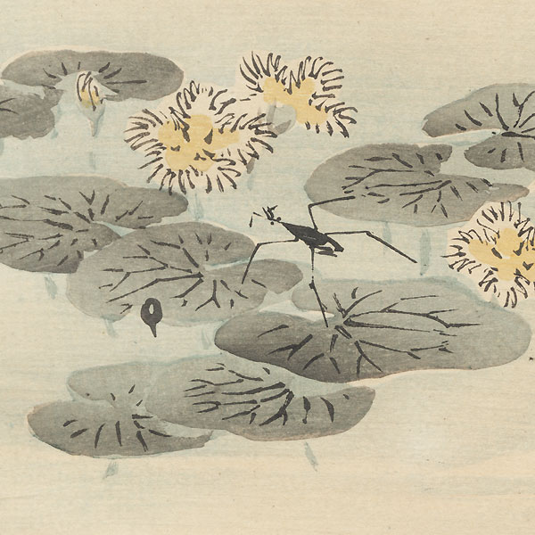 Water Bugs on a Lily Pond by Bairei (1844 - 1895)