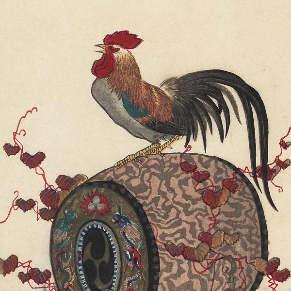 Rooster on a Drum by Meiji era artist (not read)