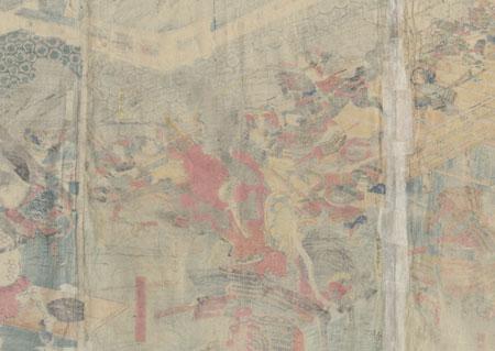Kiso Yoshinaka of Echigo Province Battles Shirojiro Nagamori by Yoshitora (active circa 1840 - 1880)